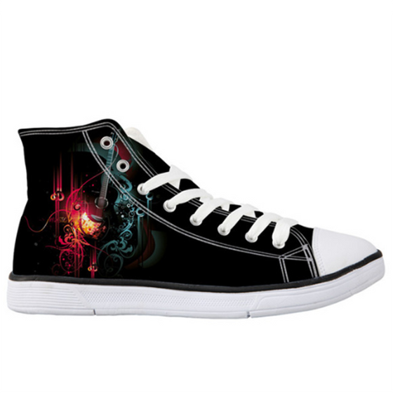 Abstract Guitar High-Top Unisex Shoes