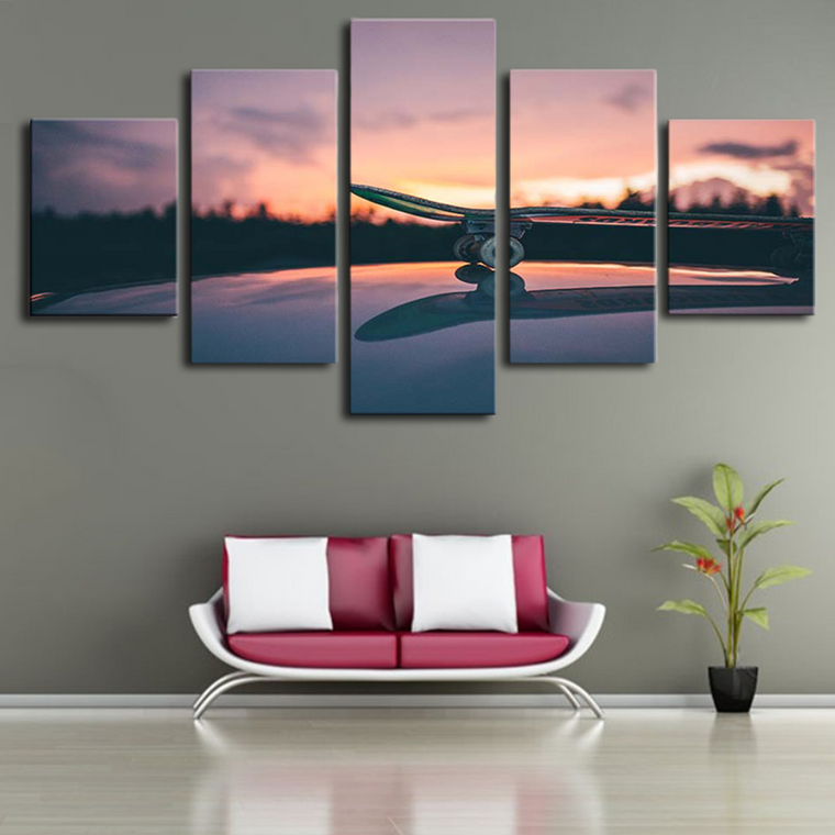 Skateboard and Sunset Canvas wall art