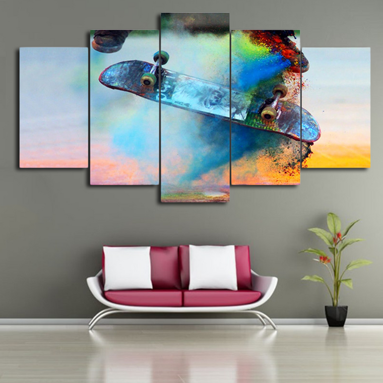 Colourful Skateboard Canvas Art