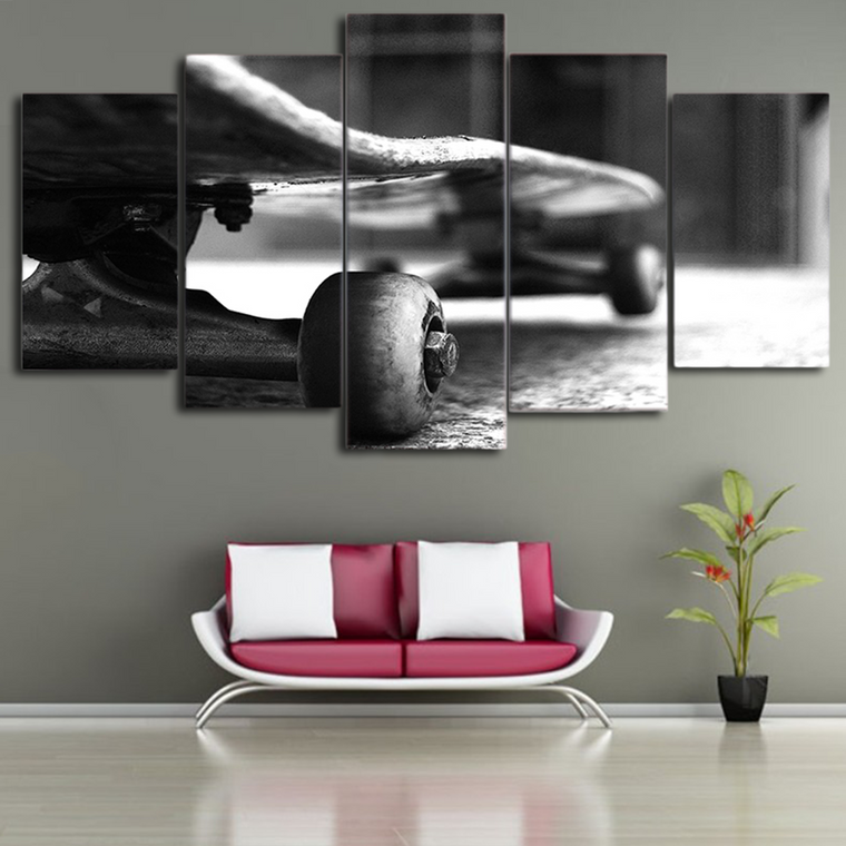 B&W  Skateboard  Canvas Art