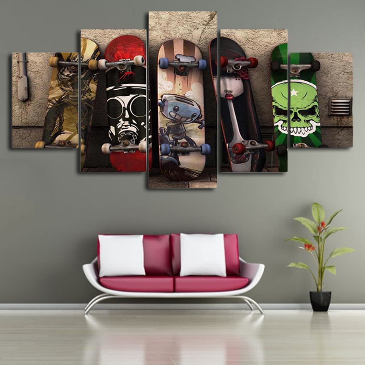 Painted Skateboard 5 Panel canvas