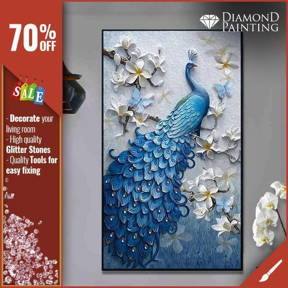 THE PEACOCK - DIAMOND PAINTING - XXL