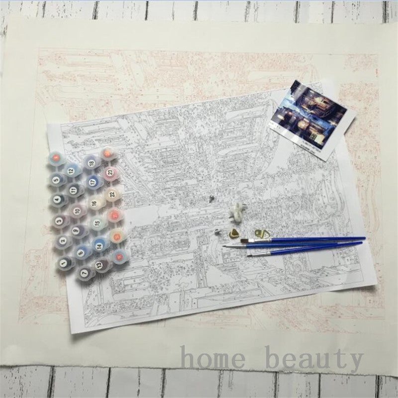 Snow Cottage Landscape -Paint by Numbers Kits