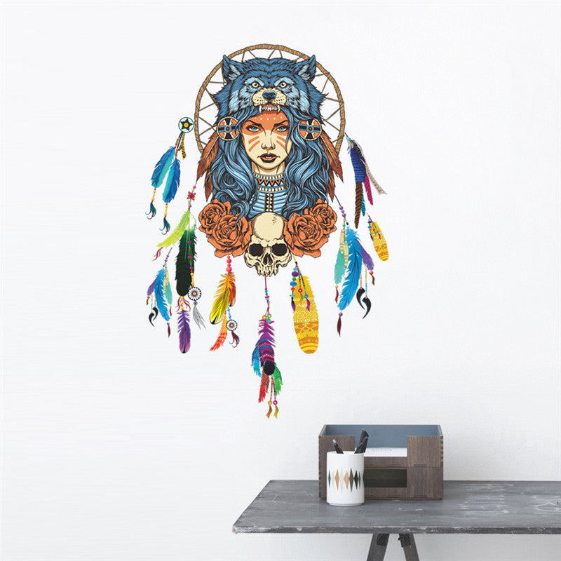 Flying Feathers Dream Catcher Wall Decal
