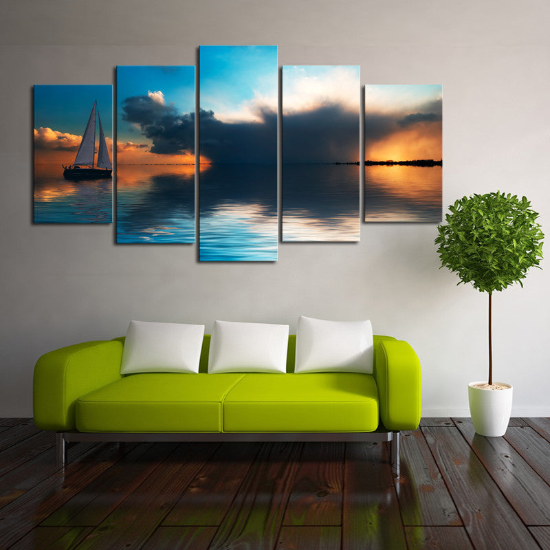 Ocean and boat Wall Art