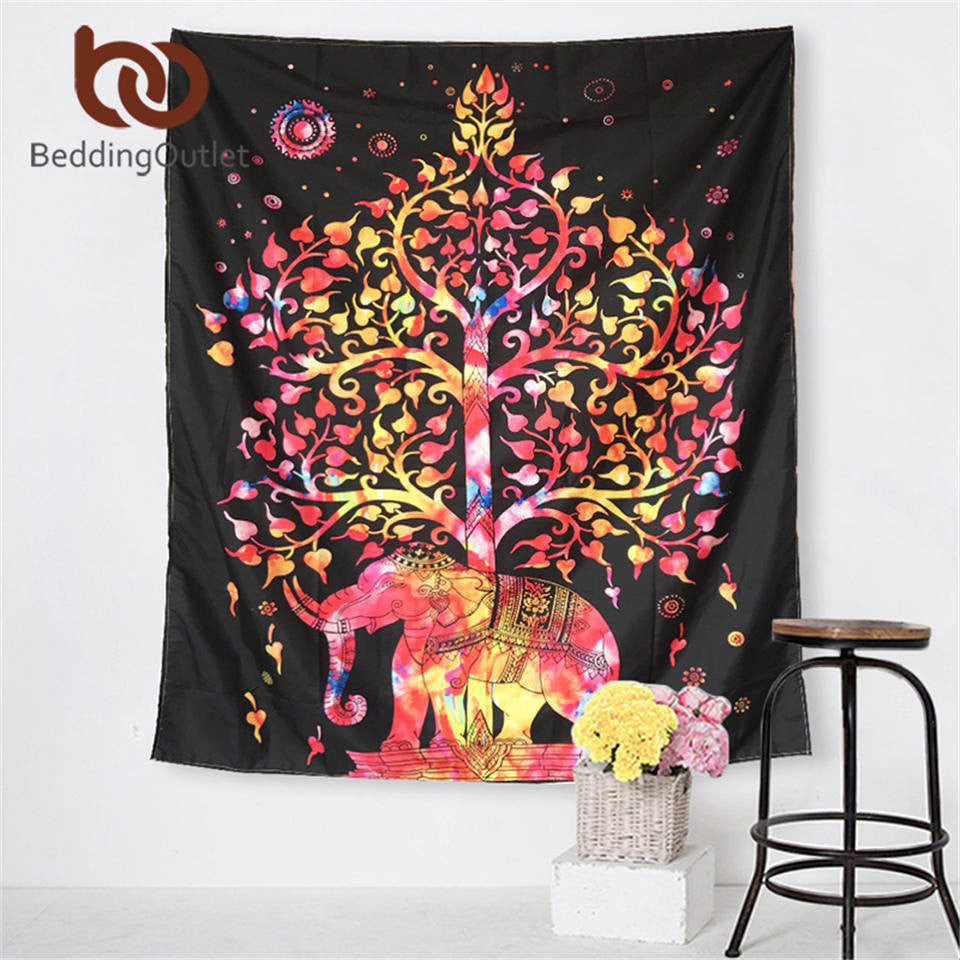 Colorful Tree And Elephant Tapestry