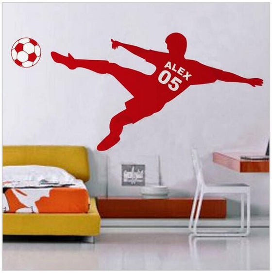 Custom Name & Number On Football Wall Decal