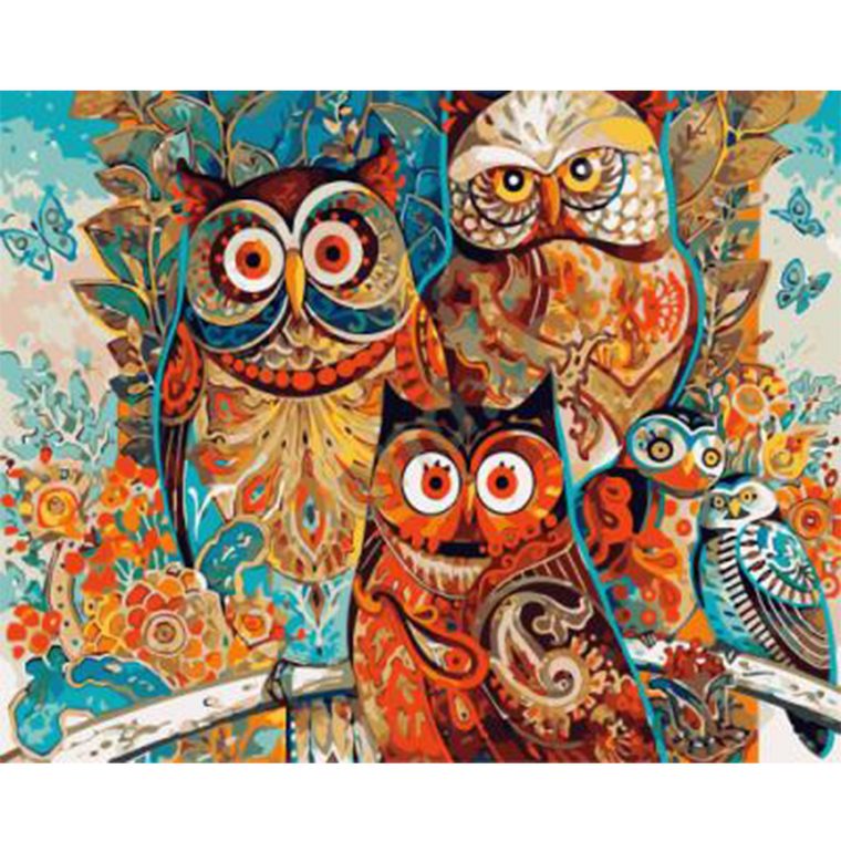 Abstract Owls -Paint by Numbers Kit