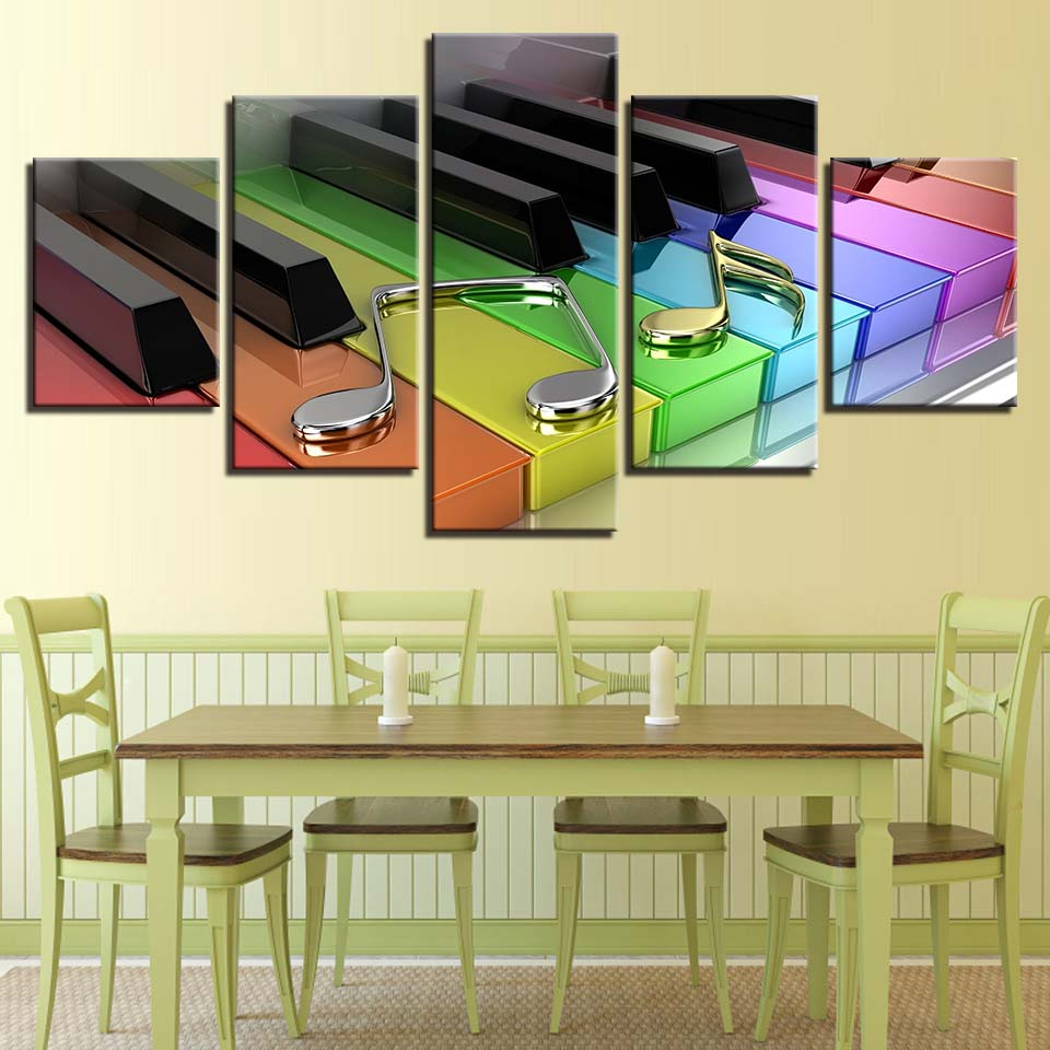 Colorful Piano Notes Canvas Art