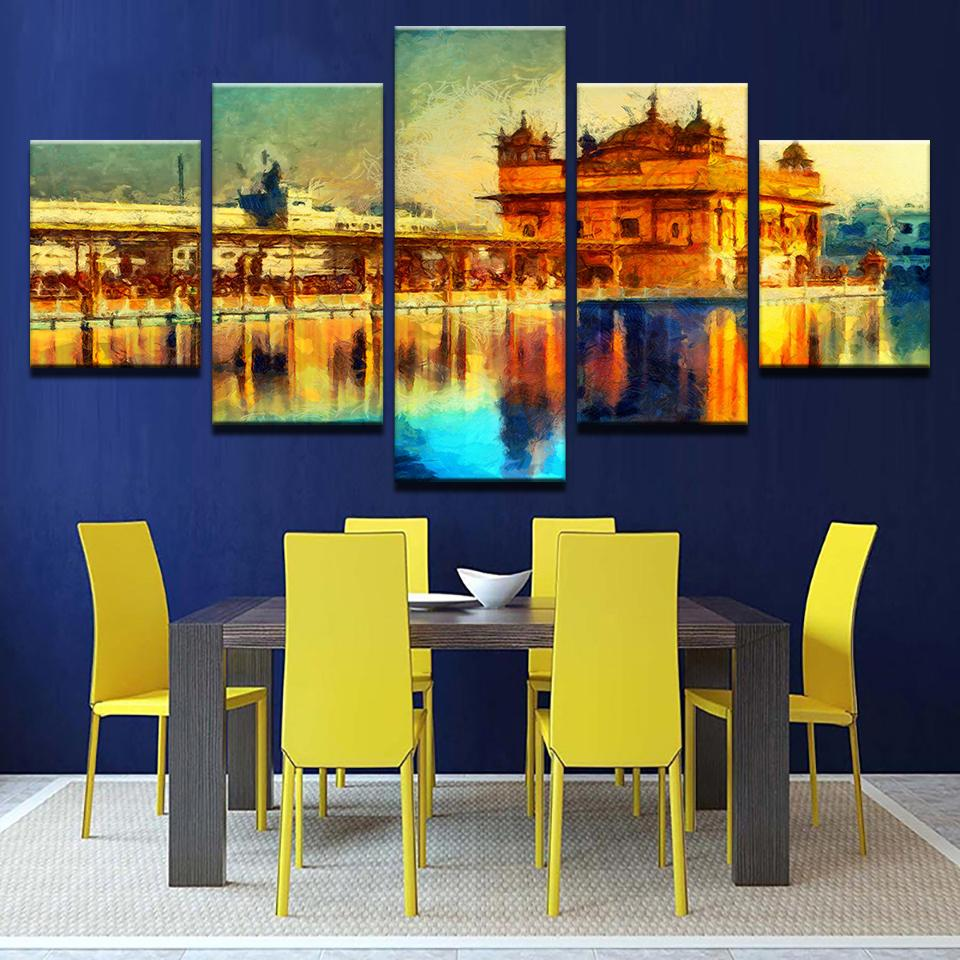 Golden Temple Landscape Abstract Canvas Art