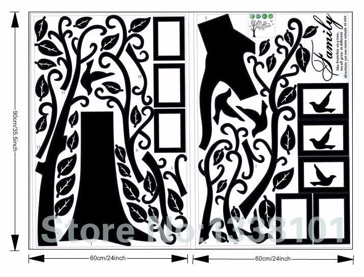 Family Photo Tree PVC Wall Decals for Home