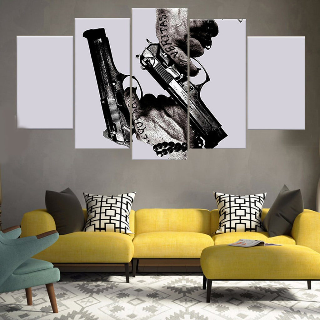 Gun And Ammo Canvas Wall Art