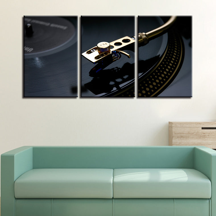Black-Gold Vinyl Multipanel Canvas