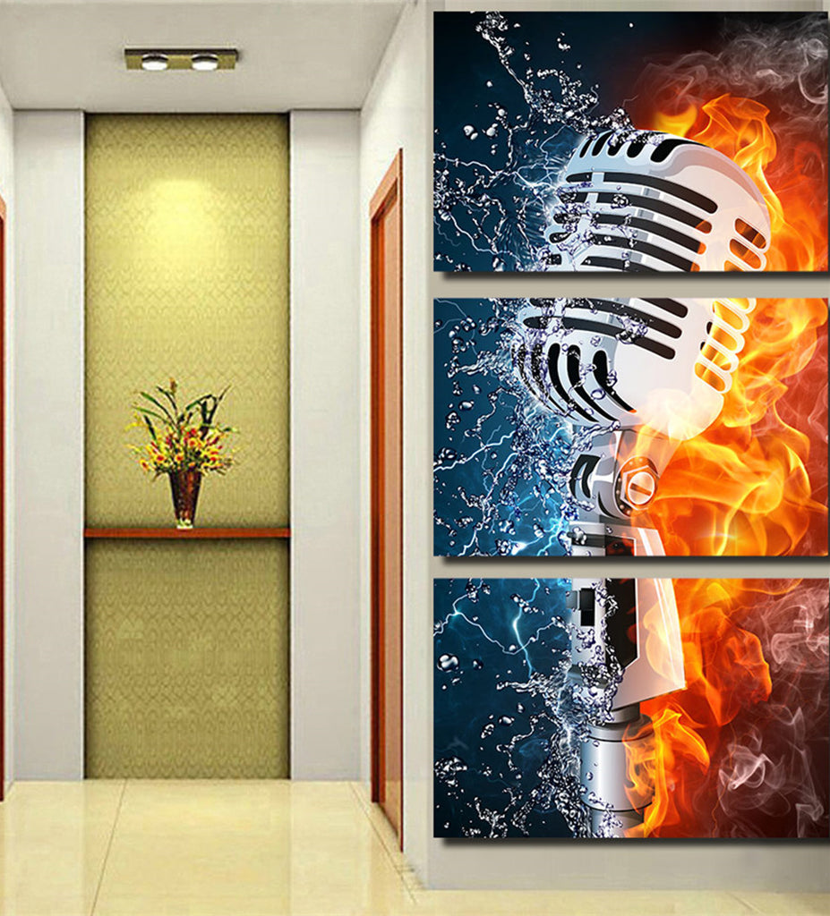 Microphone Fire & Water Canvas Art