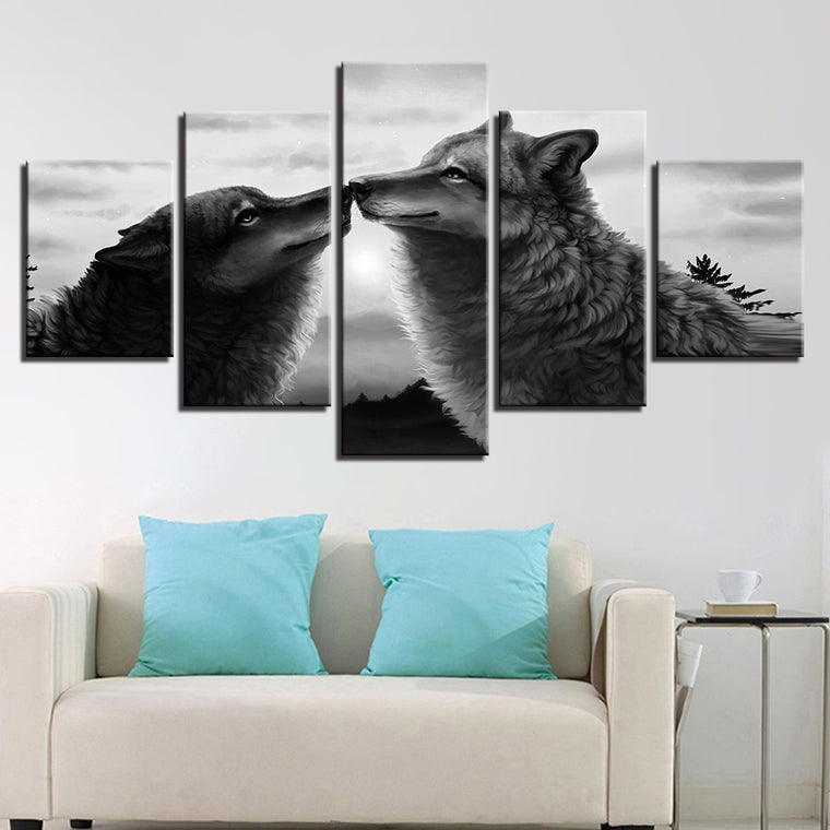 The Kiss of Wolves Canvas Art