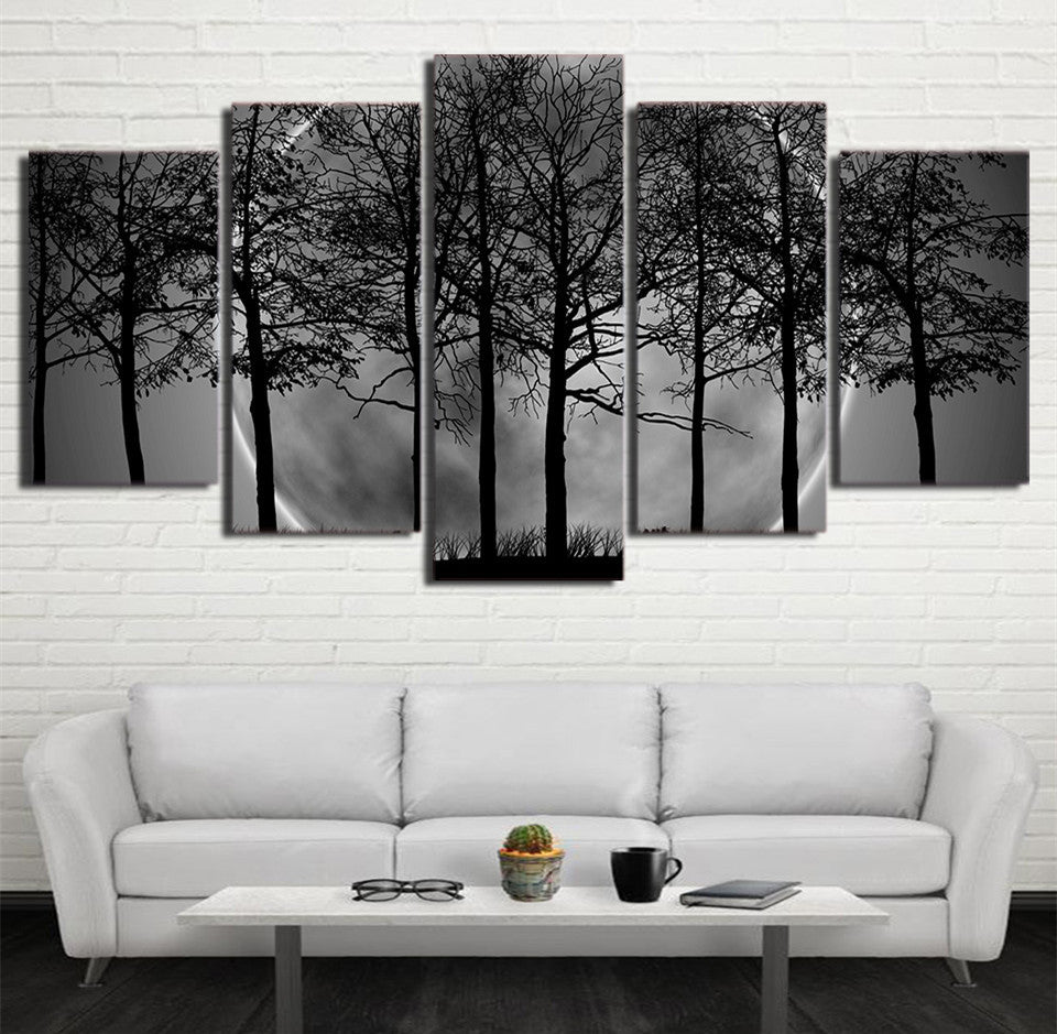 Tree & Moon Canvas Art