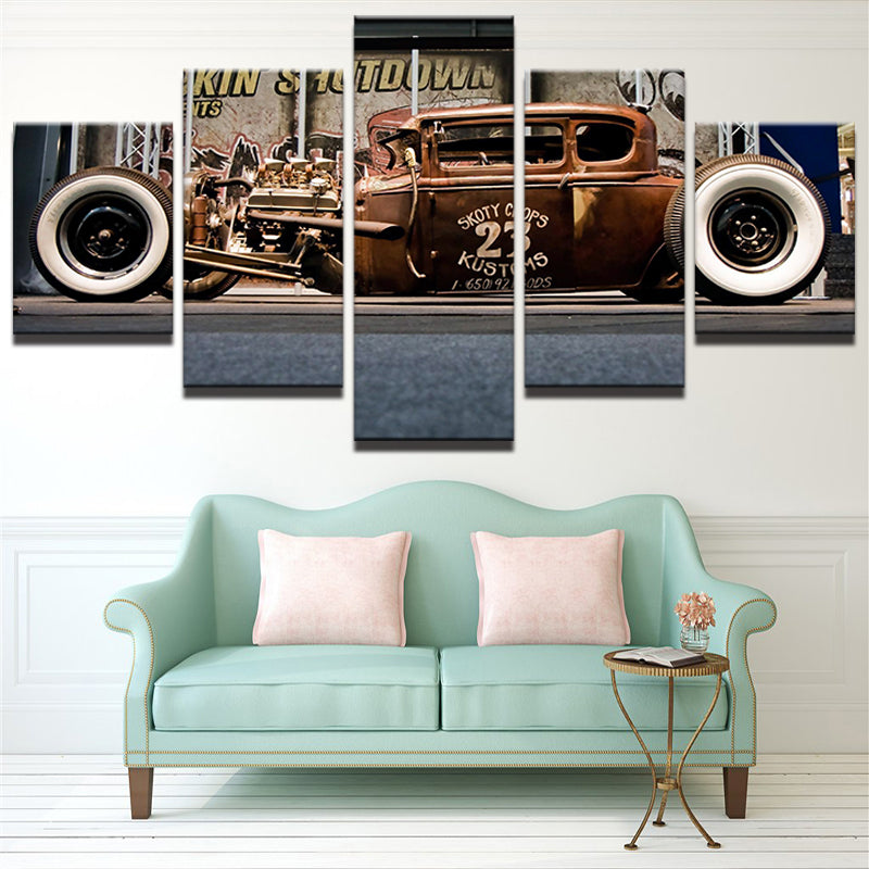 White Wall Vintage Hot Rod Canvas Art