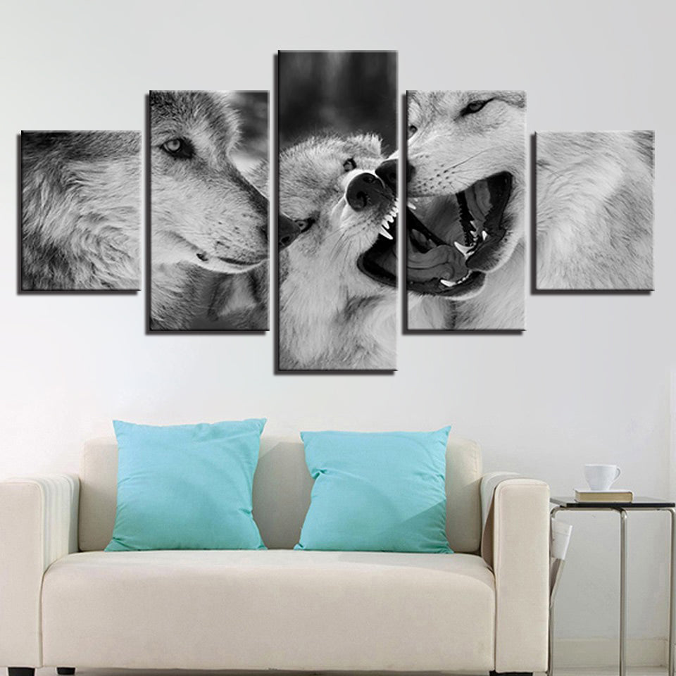 Black & White Wolves Canvas Art
