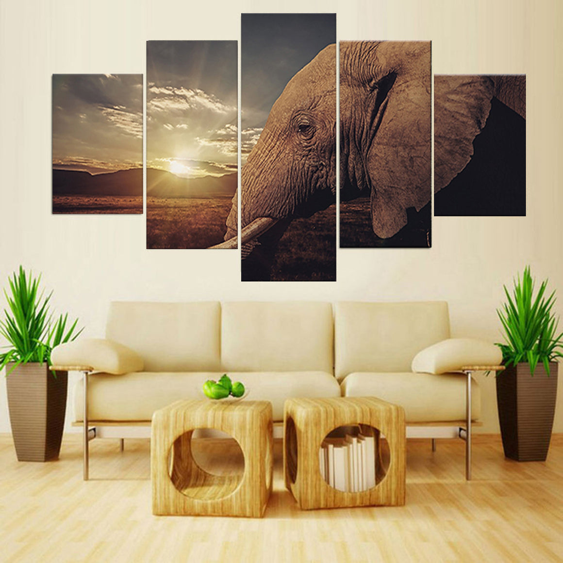 Sunset African Elephant Landscape Canvas