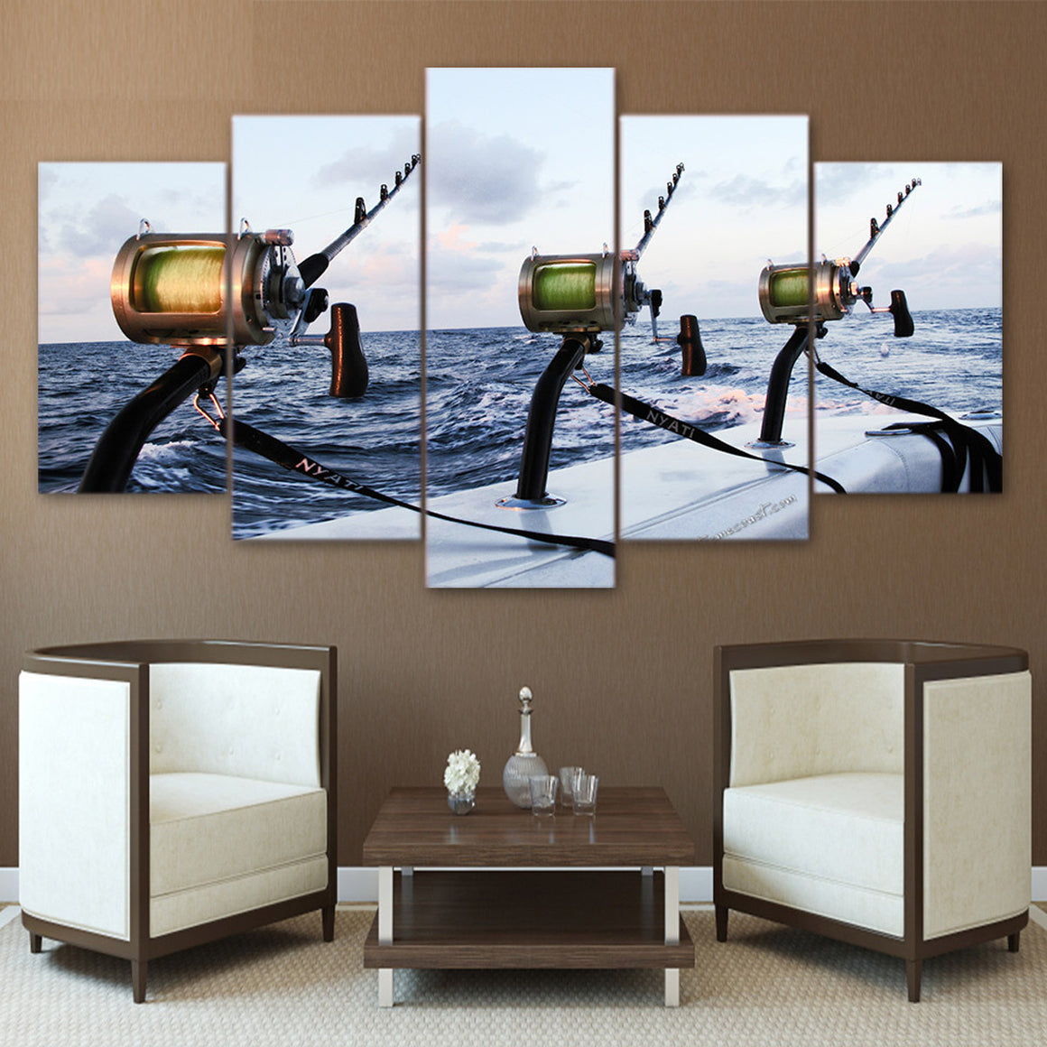 Fishing Rod At Sea Canvas Art