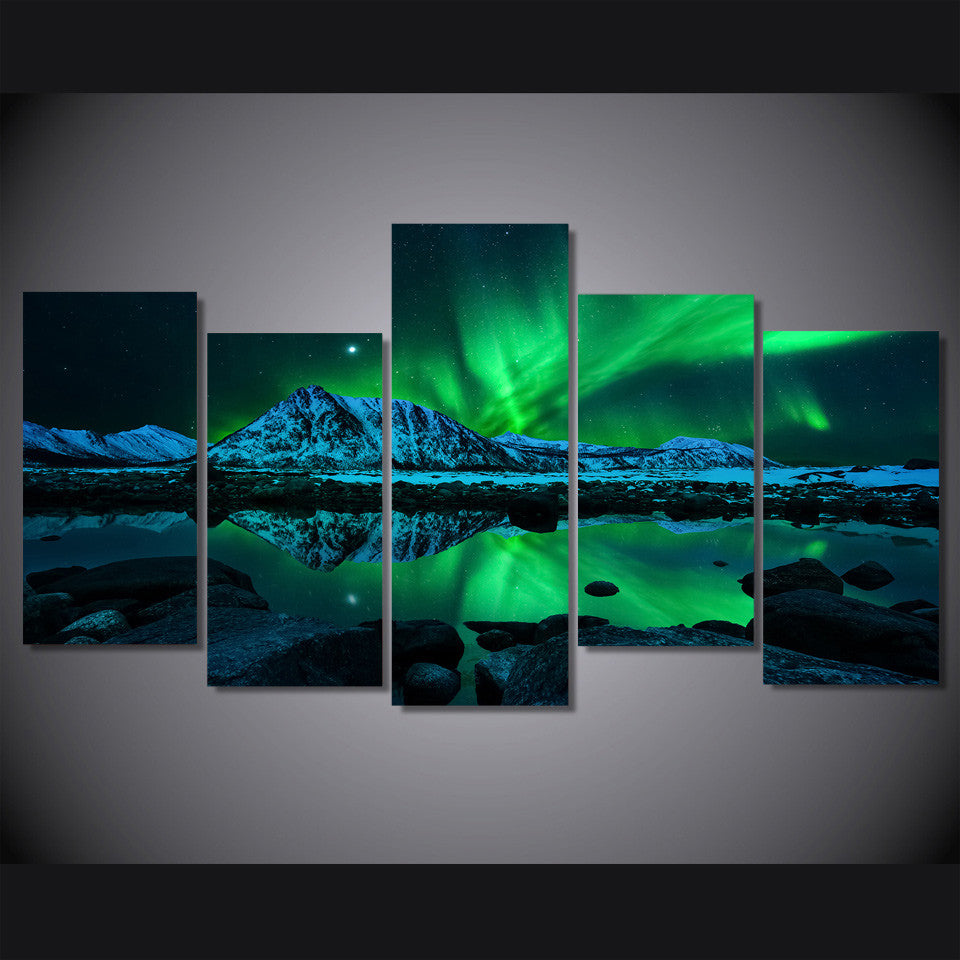 Aurora borealis multiple panel canvas art