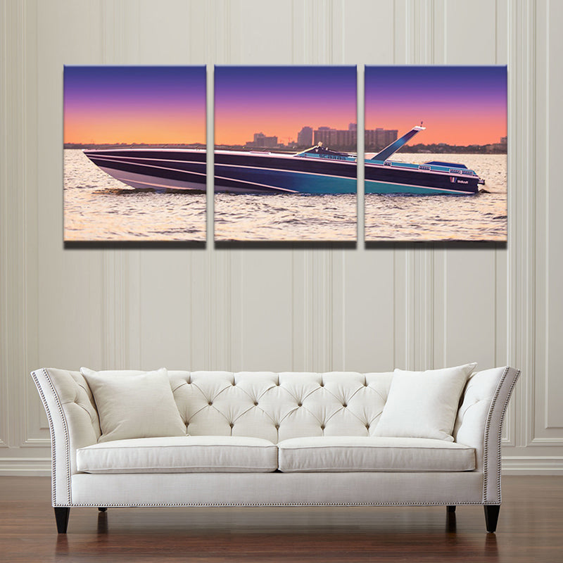 Sunset Yacht Ship Canvas Art
