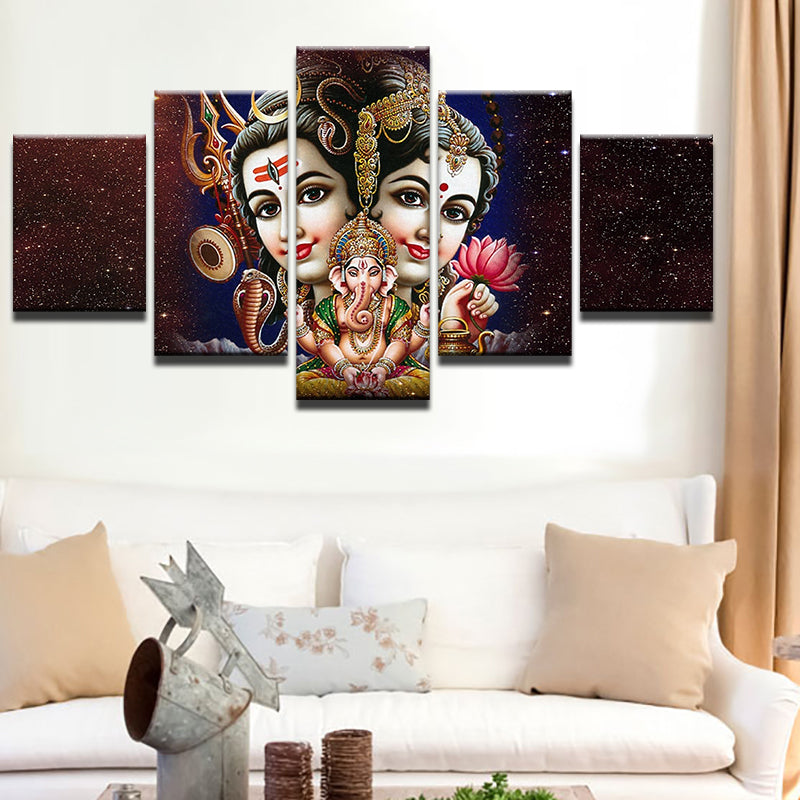 Shiv Parvati And Ganesha Canvas Art