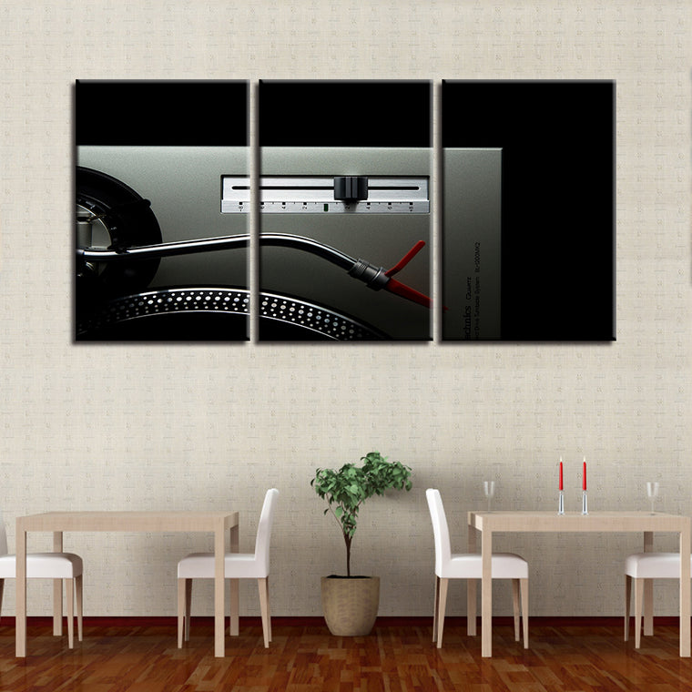 Classic Turntable 3 Panel Canvas Art