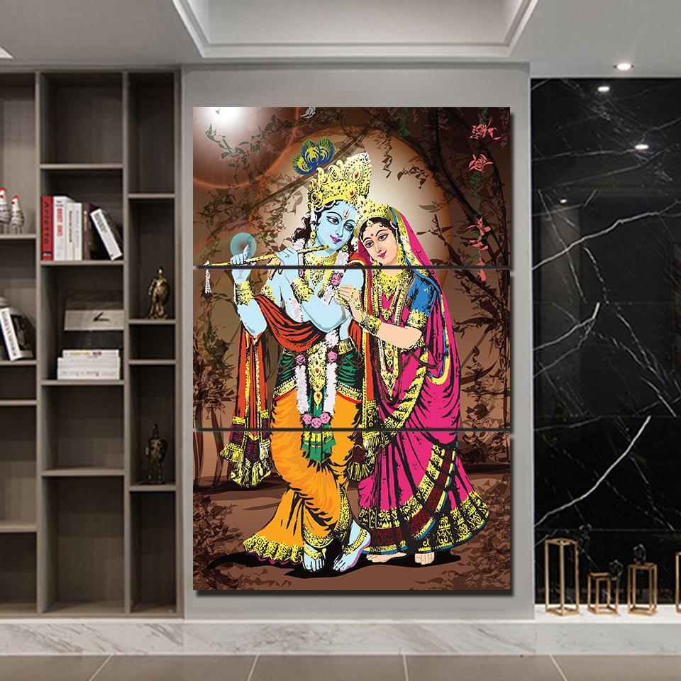 Lord Krishna & Goddess Radha Canvas Wall Art