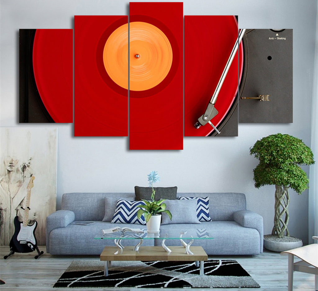 Red Turntable Canvas Art
