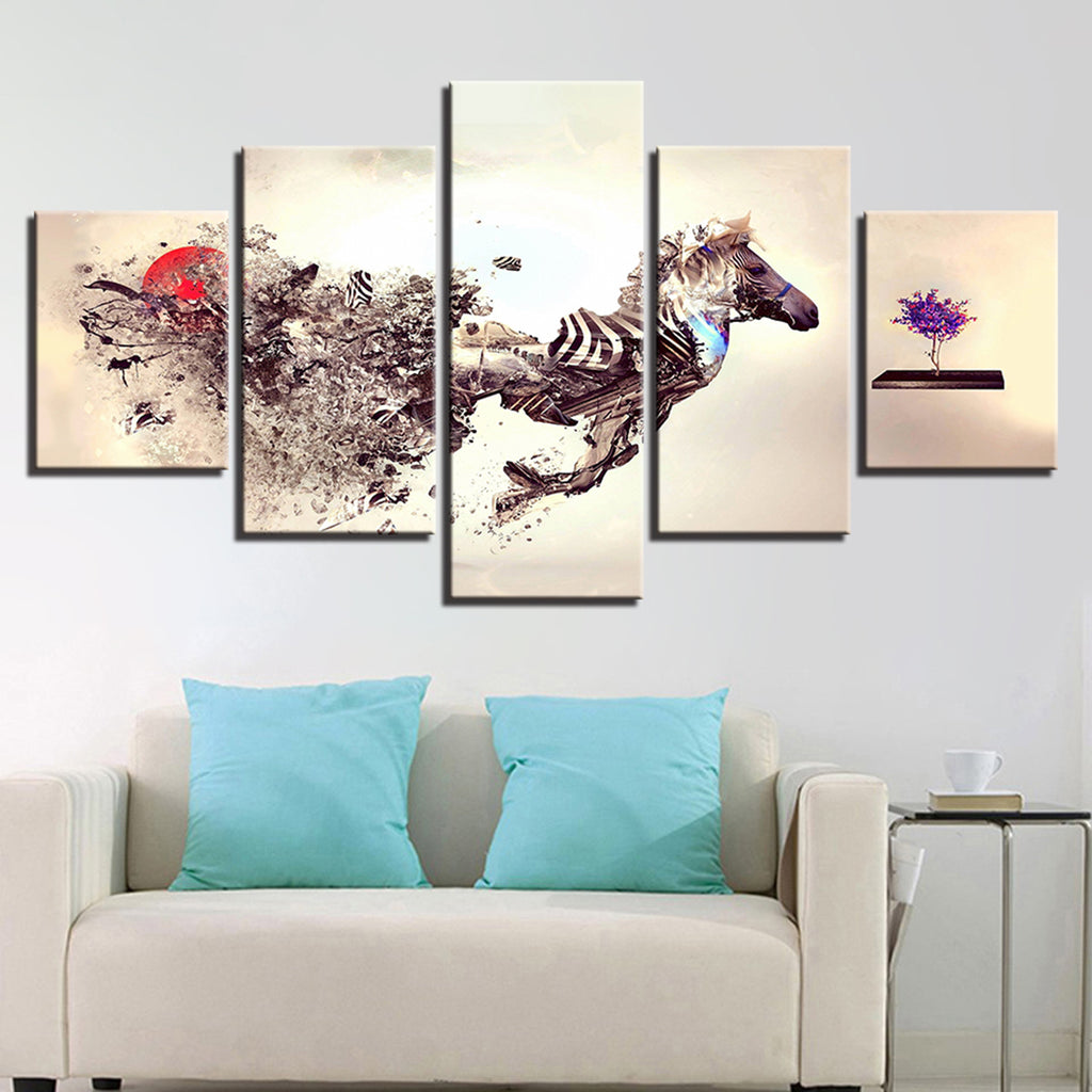 Abstract Wild Horse Canvas Art