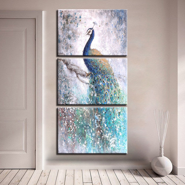 Abstract Watercolor Peacock Canvas Wall Art