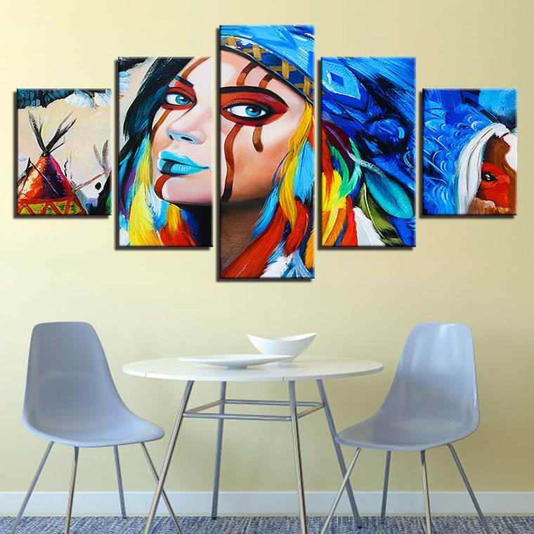 Feathered Native Warrior Canvas Art
