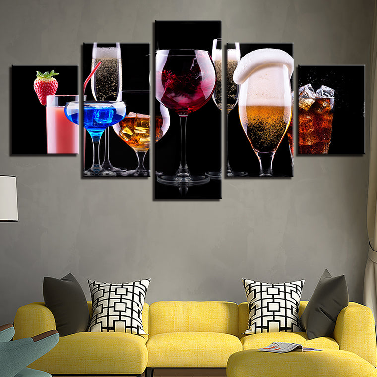 Cocktails 5 piece Canvas Art