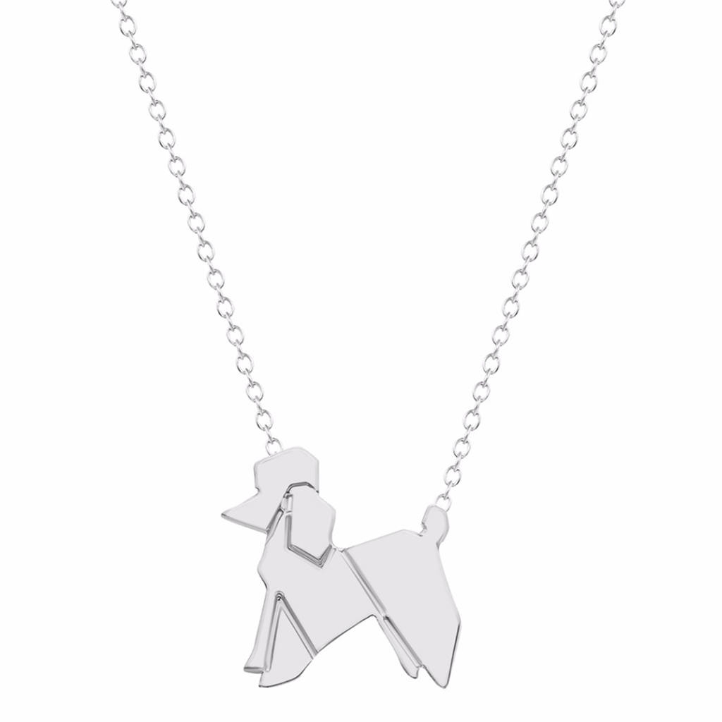 Origami Poodle Dog Necklace