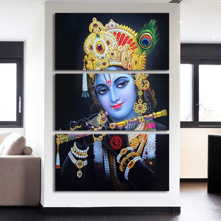 Lord Krishna Abstract Wall Art