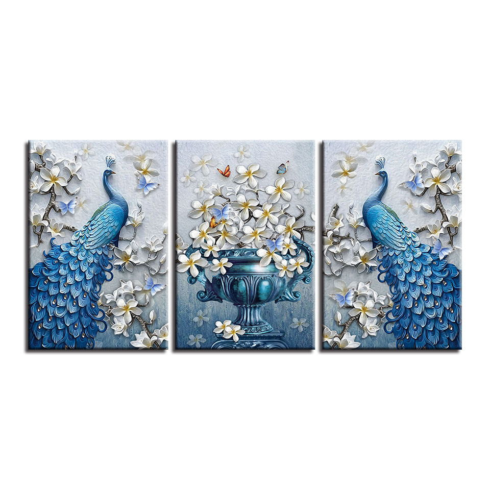 Blue Peacock & Orchid Flower Wall Art