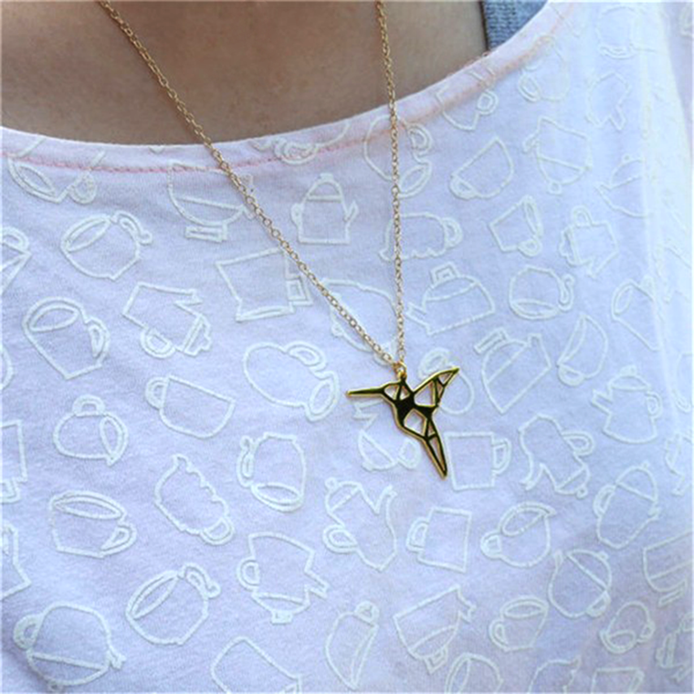 Origami Hummingbird Necklace