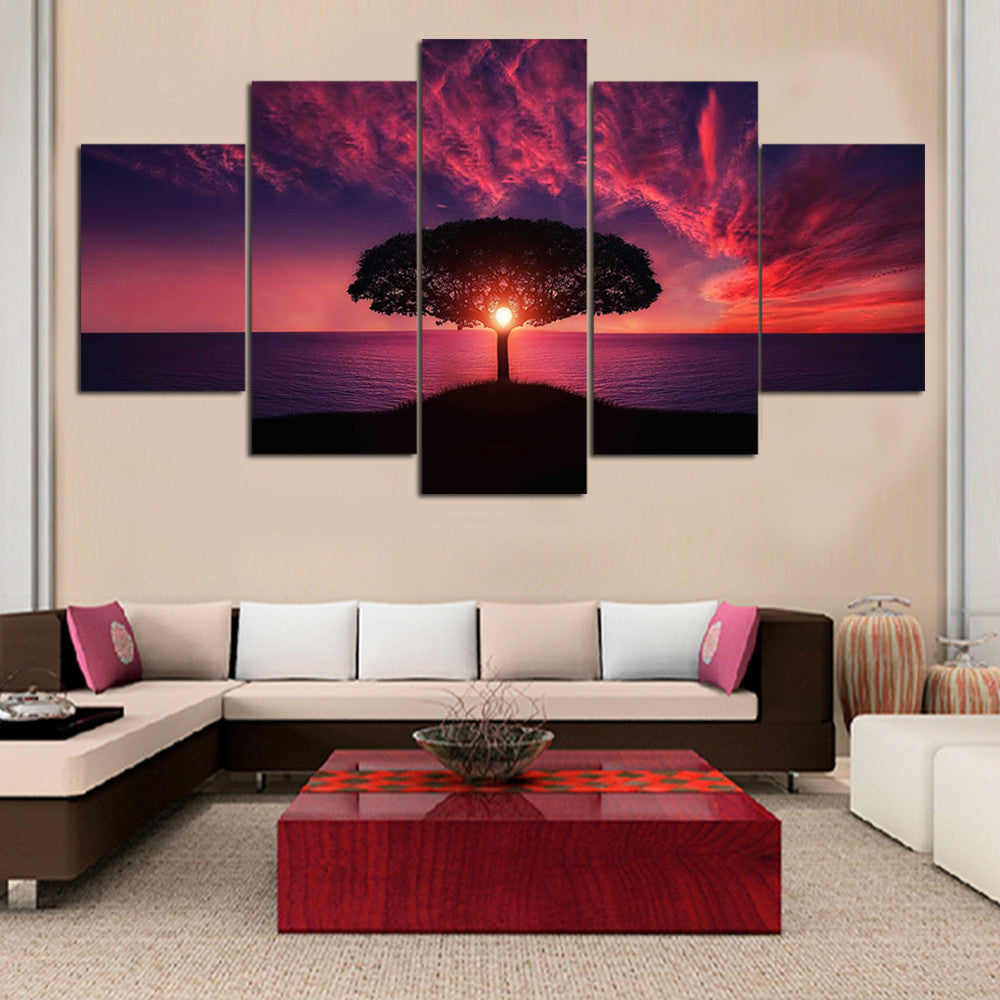Red Sunset Canvas Art