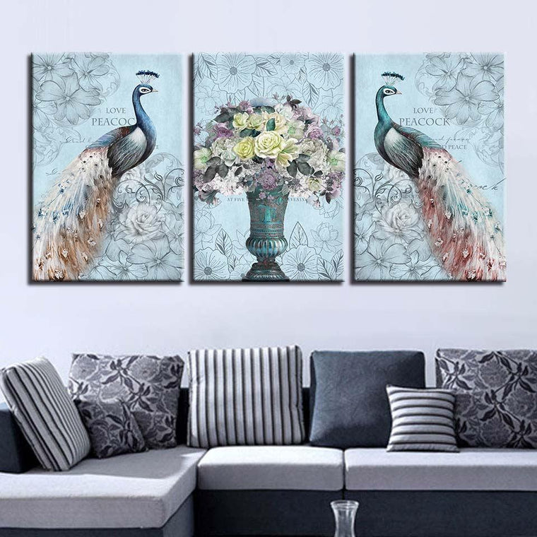 Love Peacock 3 Panel Canvas Art