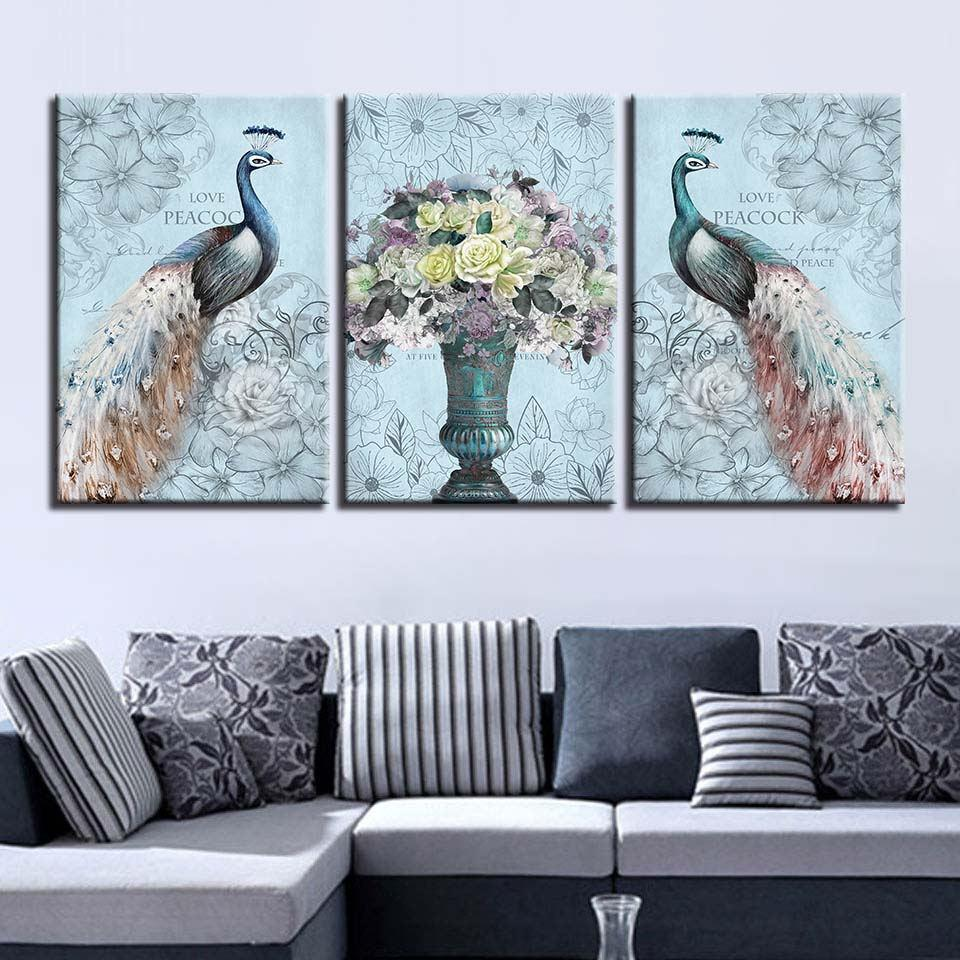 Abstract Love Peacock Canvas Wall Art