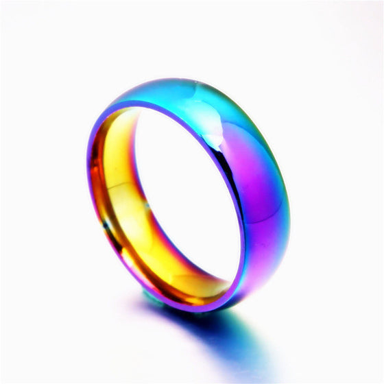 Rainbow Pride Ring Titanium Steel