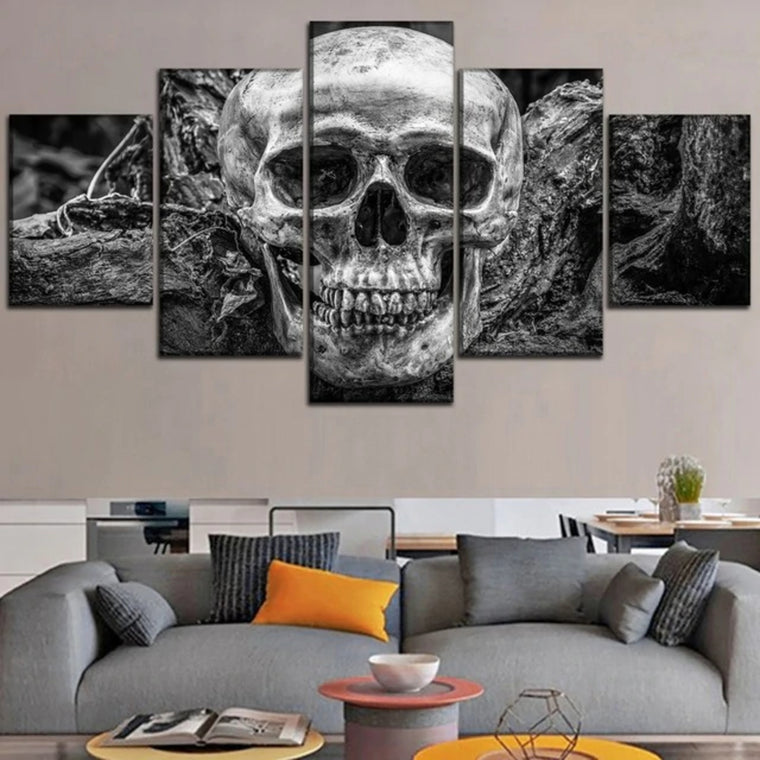 Abstract B&W Skull Wall Art