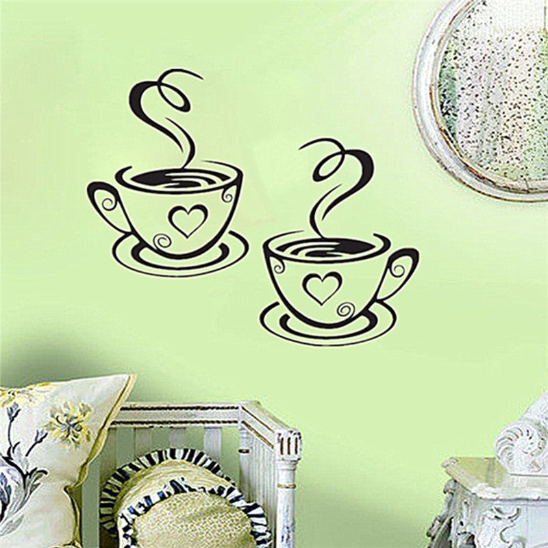 Coffee Cups Wall Art Vinyl Decal Decor