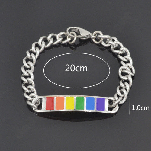 "Pride Rainbow Flag Chain Bracelet Stainless Steel ""Free Shipping"""