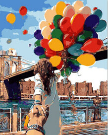 Balloons and the Girl- Paint by Numbers Kit
