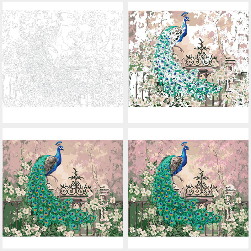 Peacock Landscape- Paint by Numbers Kit