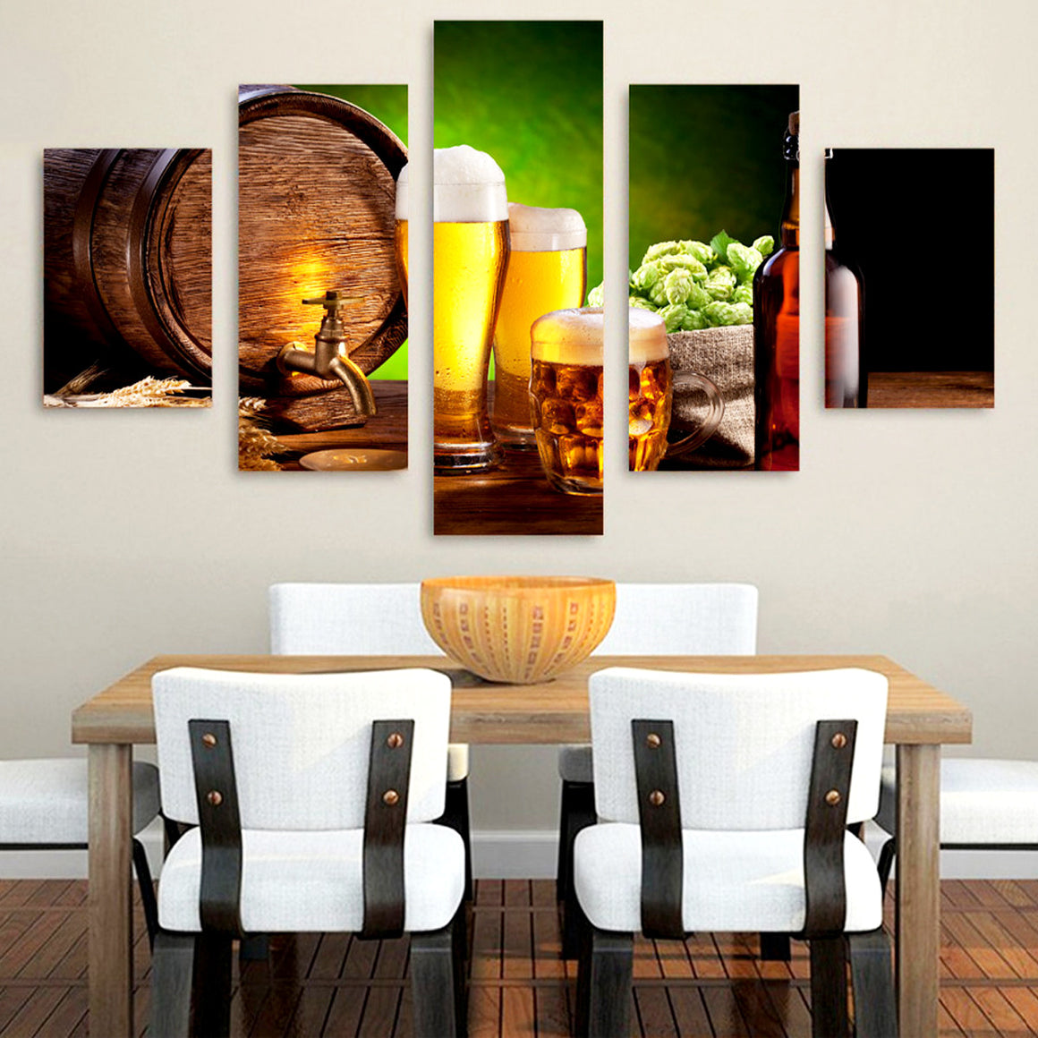 Beer Barrel Bottle Hop Canvas Art