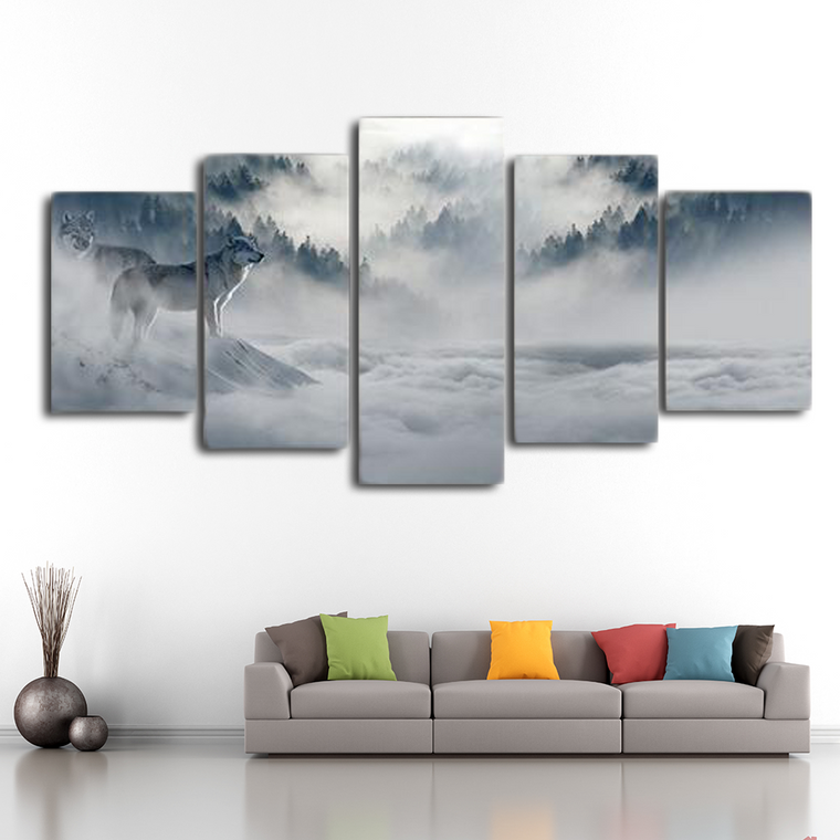 Wolves amid Wilderness Canvas Art