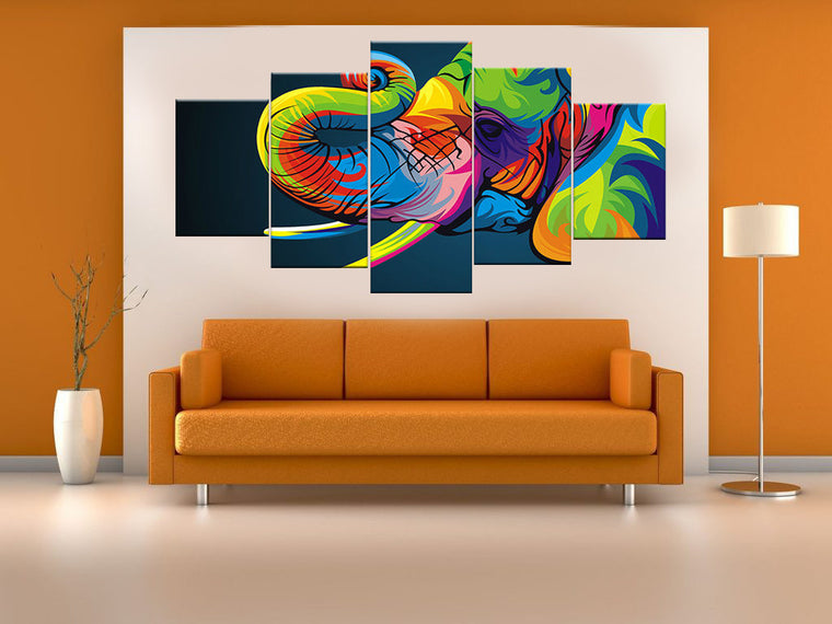 Colorful Elephant Canvas Wall Art